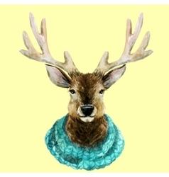 Watercolor handsome deer vector image