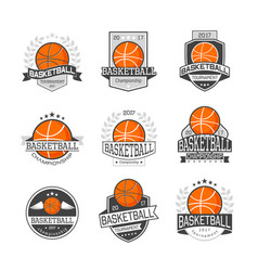 Basketball competitions emblems set vector