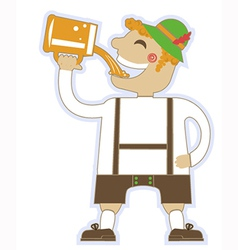 Oktoberfest man with glasses of beer german vector