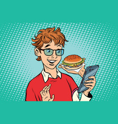 Online food delivery a teenager uses a smartphone vector