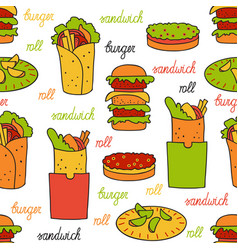seamless pattern with hamburger and rolls vector image