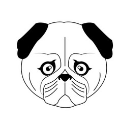 Color sketch cute serious dog fawn pug vector