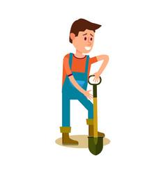 Male farmer with shovel icon vector