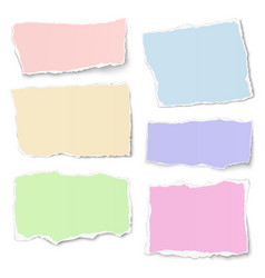Set of pastel color paper tears with soft shadow vector