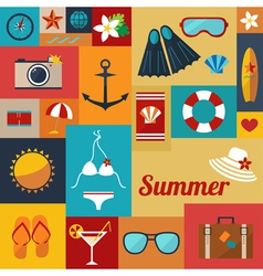 summer flat background vector image