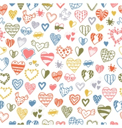 Seamless pattern of hand drawn doodle hearts vector