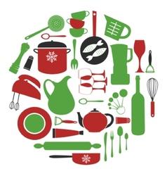 Stylish round kitchen composition vector image