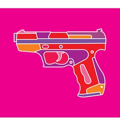 Handgun on purple vector