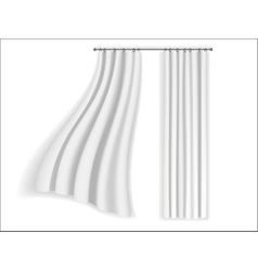 White curtains fluttering on a white background vector