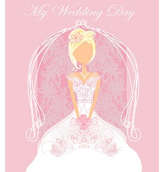 Abstract Beautiful floral bride card vector image