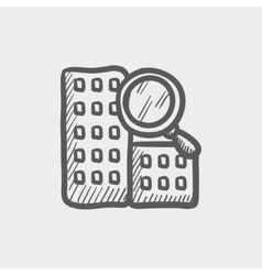 Search building sketch icon vector