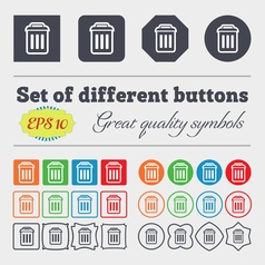 Trash icon sign big set of colorful diverse vector