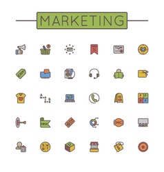 Colored marketing line icons vector