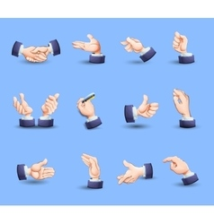Hands gestures icons set flat vector