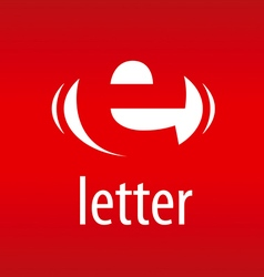 Logo abstract letter e on a red background vector