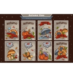 Big set of cards from the vertical colored doodles vector image