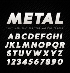 Metal font on carbon background vector