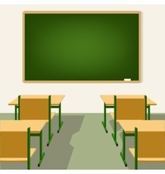 Empty school classroom with blackboard and desks vector
