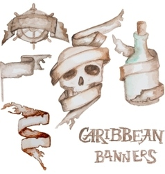 Watercolor caribbean banners vector