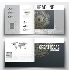 Set of square design brochure template round vector