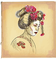 Geisha - an hand drawn sketch freehand colored vector