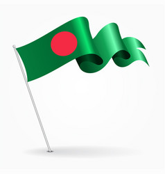 Bangladeshi pin wavy flag vector