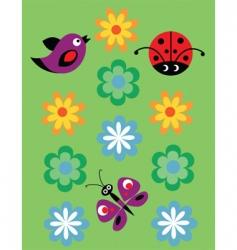 birds butterflies ladybirds vector image