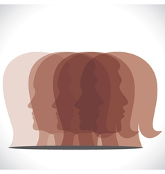 Brown men women head icon vector