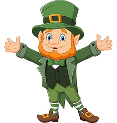 Cartoon funny leprechaun waving hand vector
