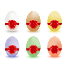 colored easter eggs with red bows and ribbons vector image