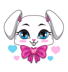 Cute cartoon bunny face vector