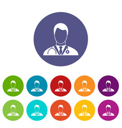 Doctor set icons vector