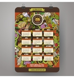 Doodles cartoon fast food calendar 2016 year vector