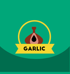 Flat icon design collection garlic emblem vector