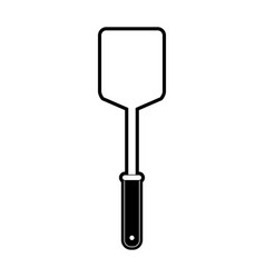 frying square spatula black silhouette vector image vector image