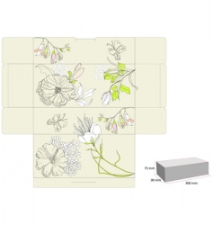 Gift box with flowers vector