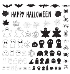 Halloween collection of outlines and silhouettes vector