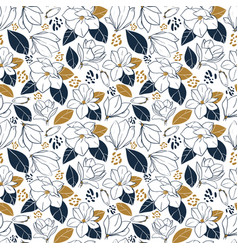 hand drawn pattern with magnolia flowersbuds vector image vector image