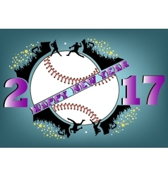 Happy new year 2017 and baseball vector
