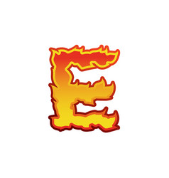 Letter e fire flames font lettering tattoo vector