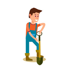 Male farmer with shovel icon vector