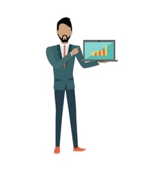 Man demonstrating chart on the laptop seo concept vector