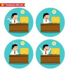 Office worker at the desk vector