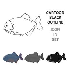 piranha fish icon cartoon singe aquarium fish vector image