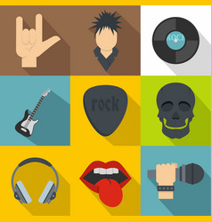 rock musician icon set flat style vector image vector image