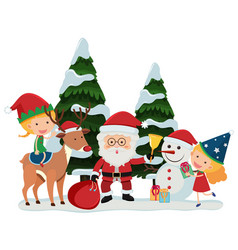 Santa and happy girls on christmas vector