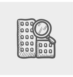 Search building sketch icon vector