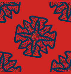 set of blue on red mandalas seamlessdecorative vector image