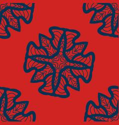 set of blue on red mandalas seamlessdecorative vector image vector image