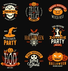 Set of Retro Vintage Happy Halloween Badges vector image vector image